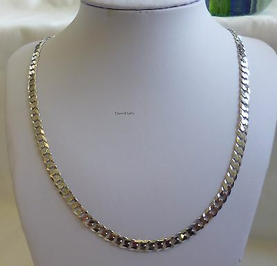 Genuine 925 sterling silver men curb (snake) chain necklace L61cm Size:5.6X7X2mm