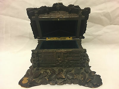 Antique German Black Forest Carved Wooden Jewelry Box.