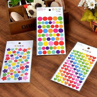 6 Pcs Colorful Rainbow Sticker Diary Planner Journal Scrapbook Albums Photo CA