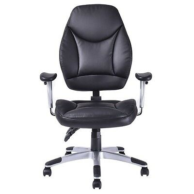 US Office Chair Modern PU Leather High-Back Executive Computer Desk Task Black