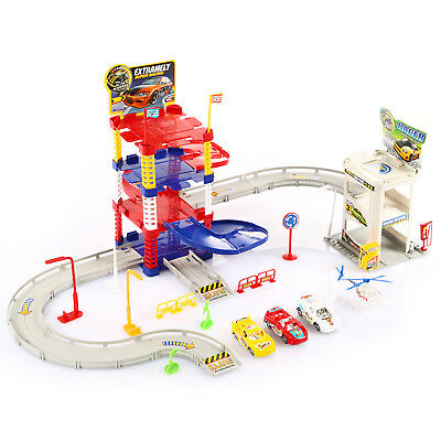 KP0551 parking garage car park track helicopter play set