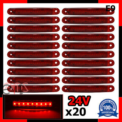 20 X 9 Led Luce A Led Ingombro 24V Laterale Rosso Per Camion Camper Furgone