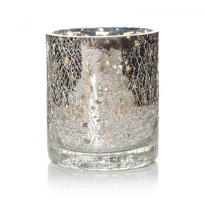 6 x Silver Crackle Vintage Glass Tealight Candle Lanterns Lamp Holders Gift Set