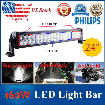 24Inch 160W Led Light Bar Flood Spot Combo Work Lights 4WD UTE Offroad Car BoatH
