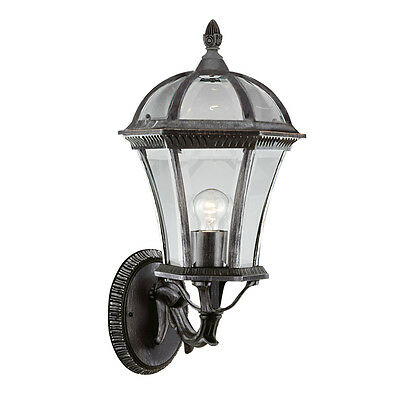 Searchlight 3670 Capri IP44 Black & Silver Outdoor Wall Light Bevelled Glass