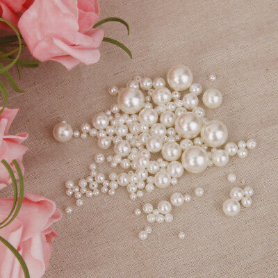 150 Assorted Resin Pearl Beads ABS Loose Spacer For Wedding Hair Bow Craft