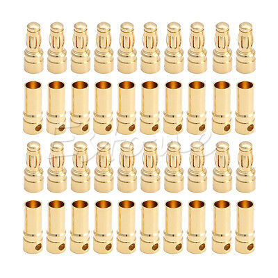 20 Pairs 40x 3.5mm Bullet Banana Plug Connector Male + Female for RC Battery Hot