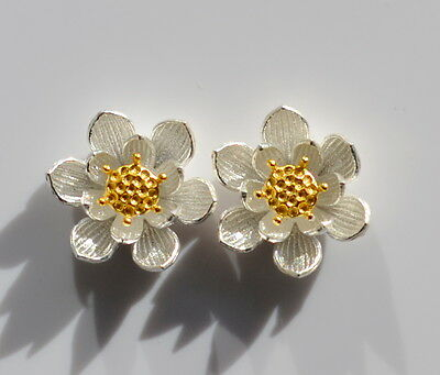 Sterling Silver 925 Large Lotus Flower with Gold Plated Centre Stud Earrings