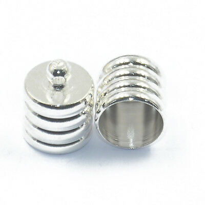 10Pcs Silver Kumihimo Cord End Caps Necklace Bracelet Tips DIY Findings