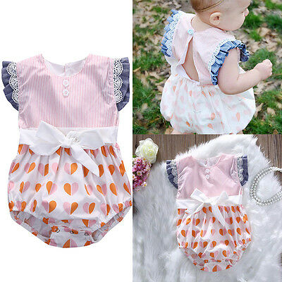Newborn Kid Baby Girl Bodysuit Bowknot Romper Jumpsuit Outfit Clothes One-Pieces