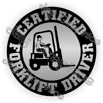 Certified Forklift Driver Hard Hat Sticker Decal Tow Motor Operator Pallet Jack