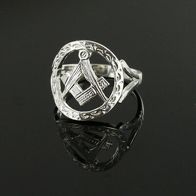 Solid Silver Square and Compass Masonic Ring