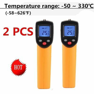 2 x Temperature Gun Non-contact Infrared IR Laser Digital Thermometer USA NEW OH