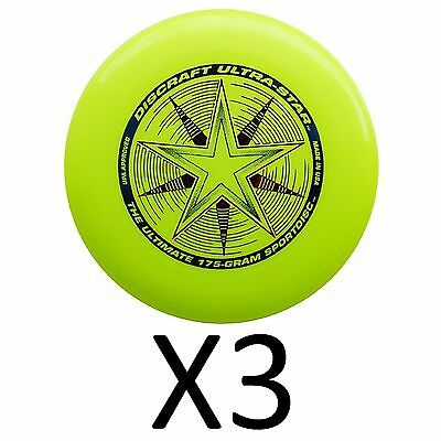 Discraft Ultra-Star Ultimate Frisbee 175 Gram Championship -Yellow (3-Pack)