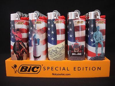 8 Bic Lighters American Pride Flag Design Regular Size Disposable Lighter