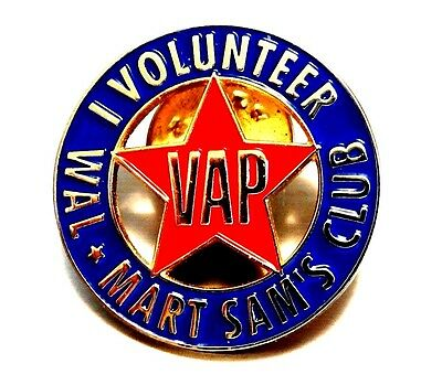 Wal-Mart Sam's Club 'I Volunteer' pin - Retired -  Blue w Red Star