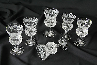 "6x Edinburgh Crystal Thistle  Wine / Water Glass 5¼"" Tall  Signed & Pristine"