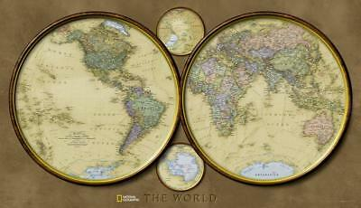 National Geographic - World Hemispheres Map Laminated Poster by Geographic, Wall