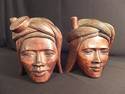 Pair of Vintage Hand Carved Solid Wood Bookends Two Primitive Women Good Detail