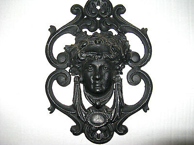 Art Nouveau Handcrafted Black Iron Door Knocker with a Beautiful Woman's Face