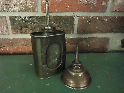 Set of 2 Vintage Small Tin Oilers 1 Thumb & 1 Squeeze