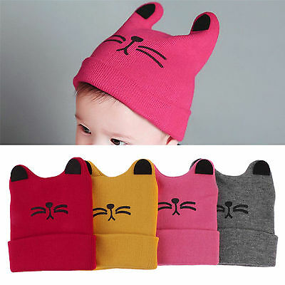 Cute Baby Newborn Infant Toddler Boy Girl Soft Wool Knit Hat Cat Warm Beanie Cap