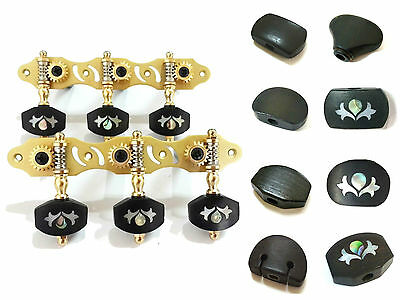 Classical Guitar Machine Head Golden Color with various Ebony Buttons 306G