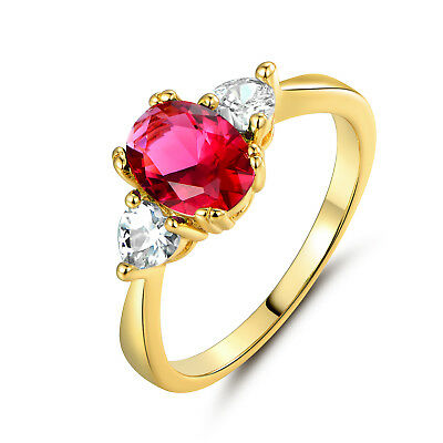 Vintage Lovely Ruby Red Sapphire Oval Gems 24k Gold Filled Slim Lady WOmen Rings