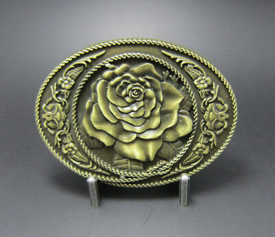Rose Flower Western Oval Bronze Plated Belt Buckle