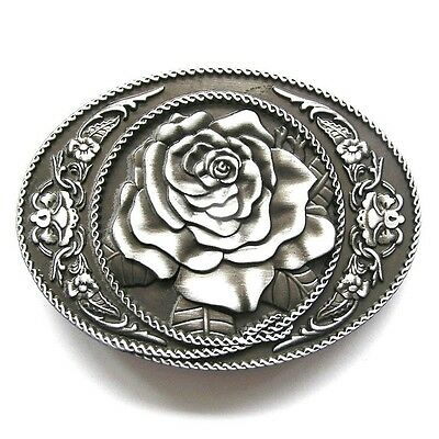 Rose Flower Western Oval Vintage Belt Buckle