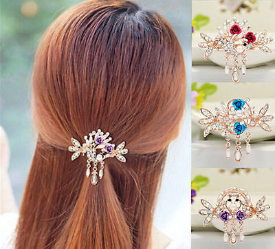 Tops Women Jewelry Crystal Rhinestone Flower NEW Clip Hair Barrette Hairpin