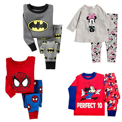 Cartoon Baby Kids Boys Girls Cotton Nightwear Sleepwear Pj's Pajamas set 1-7Y