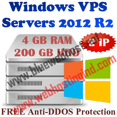 Windows Virtual Dedicated Server 2012 R2 (VPS) 4GB RAM + 200GB HDD + 2 IP