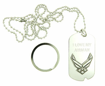 U.S. Air Force I Love My Airman USAF USA Military ID Dog Tag / Keychain