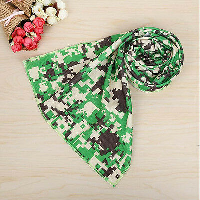 Sports Ice Cold Enduring Running Jogging Gym Chilly Pad Cooling Towel Green Camo