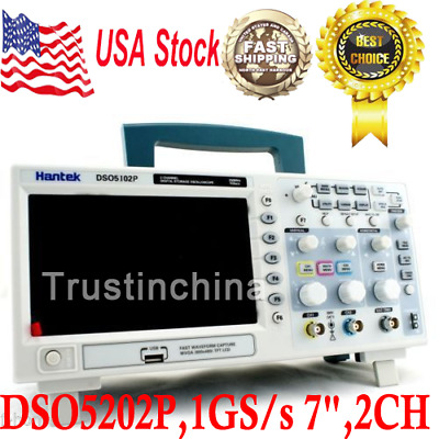 "Hantek DSO5202P Digital 200MHz Oscilloscope 2 Channels 1GS/s 7"" TFT LCD 800x480"