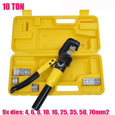 10Ton Hydraulic Crimper Crimping Tool/w 9 Dies Wire Battery Cable Lug Terminal H