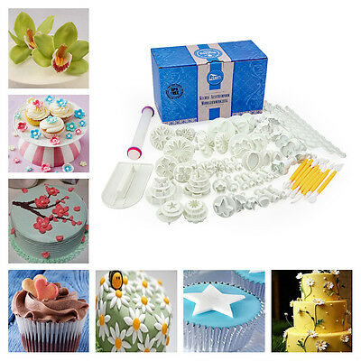 68pcs Fondant Sugarcraft Cake Decorating Icing Plunger Cutters Tools Mold Mould