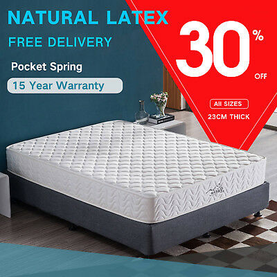 Latex Mattress SINGLE KING New 7 Zone Pocket Spring Deluxe Foam QUEEN Bed DOUBLE