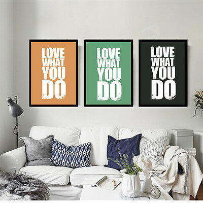 DO WHAT YOU LOVE - Motivational Quote Minimalist Art Canvas Poster Picture FA015