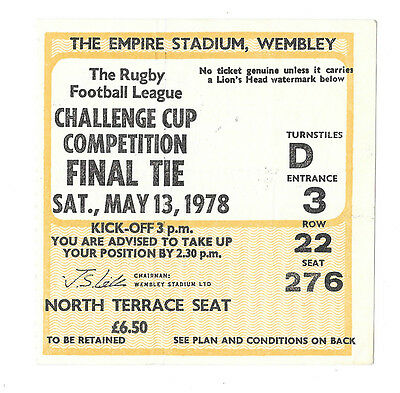 1978 - Leeds v St. Helens, Challenge Cup Final Match Ticket.