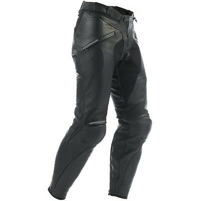 Dainese Alien Pelle Black Leather Motorcycle Motorbike Trousers Pants