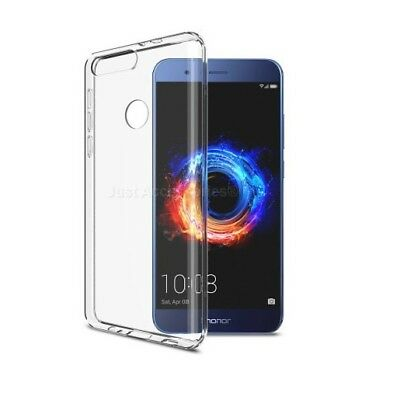Clear Silicone Gel Case Cover + Glass Screen Guard For New Huawei Honor 8 phone