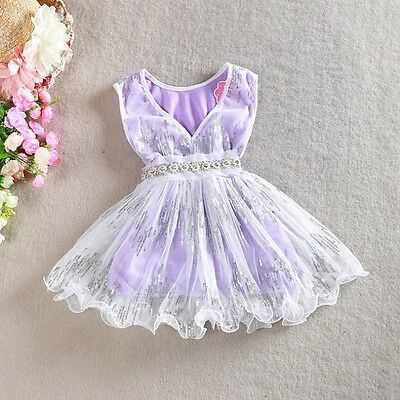 Girls Dress Pearl Waistband Sequin Vintage Lace Tulle TuTu Party Birthday 1-7