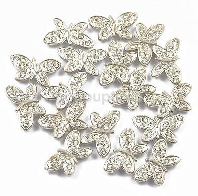 20 Rhinestone Silver Butterfly Spacer Bar 2 Hole Beads For Jewelry Connector