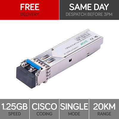 Fibre Optic SFP Transceiver 1000BASE-LX Singlemode Mini GBIC 1.25Gbps Cisco 20km