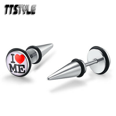TTstyle 8mm Red Heart Surgical Steel Fake Ear Spike Earrings A Pair NEW