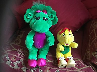 """2 X Vintage Barney Soft Toys Plush Bj 8"""" Tall And Baby Bop 12"""" Tall"""