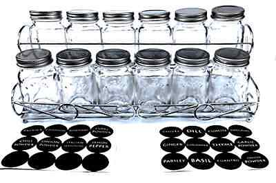 Spice Jar Mason Style With Spice Rack and Labels Rust Proof Set of 12 pcs 5 oz