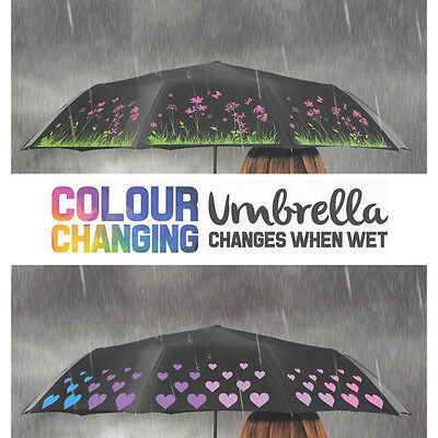 Droplets Black Compact Folding Colour Changing Umbrella Hearts/Flower Print NEW
